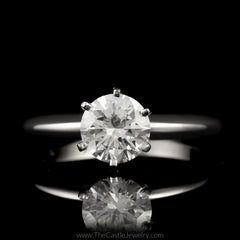 Round 1.09ct VS1-E Diamond Engagement Ring 14K White Gold GIA CERT - The Castle Jewelry  - 1