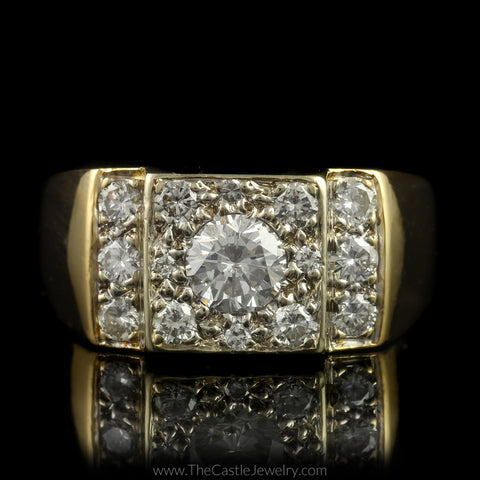 Gent's 1.50cttw Diamond Ring w/ Polished Sides in 14K Yellow Gold