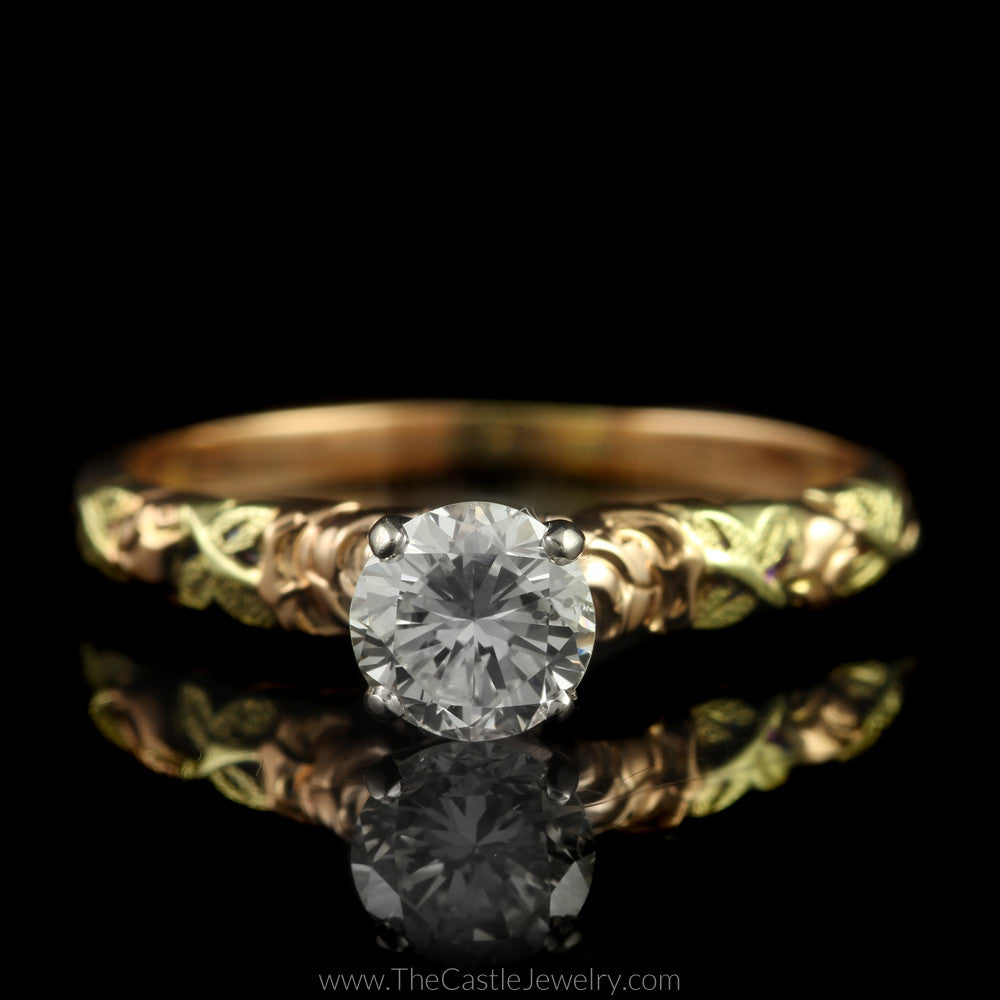 Round Diamond Engagement Ring w/ Rose Design Two Toned 14K Mounting - The Castle Jewelry  - 1