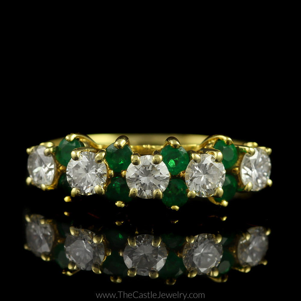 Round Diamond & Emerald Band .75cttw in 18K Yellow Gold - The Castle Jewelry  - 1