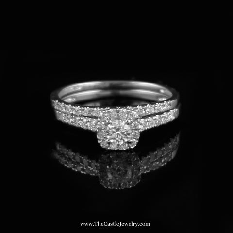 SPECIAL Crown Collection Diamond  Bridal Set .50cttw w/ Squared Bezel in 14K White Gold