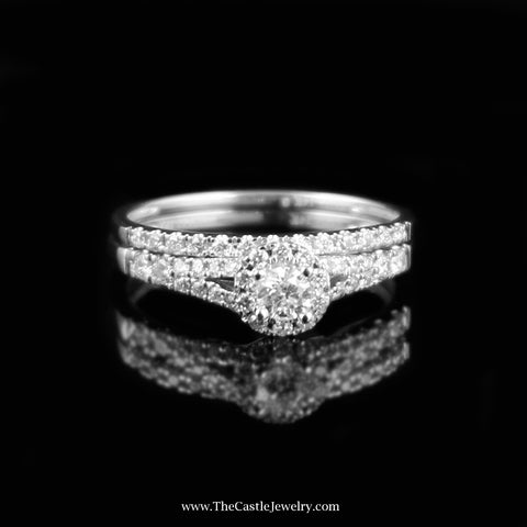 SPECIAL Crown Collection 1/2cttw Diamond  Bridal Set w/ Halo Accent in 14K White Gold