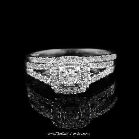 Crown Collection 1/2cttw Diamond  Bridal Set w/ Square Bezel in 14K White Gold