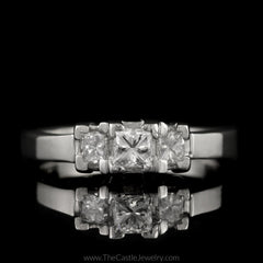 Princess Cut 1cttw DeBeers Style 3 Diamond Ring in Platinum - The Castle Jewelry  - 1