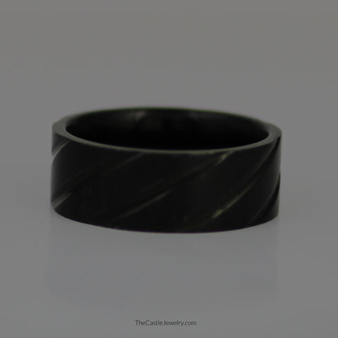 Gent's 8mm Titanium & Black Ti Grooved Wedding Band