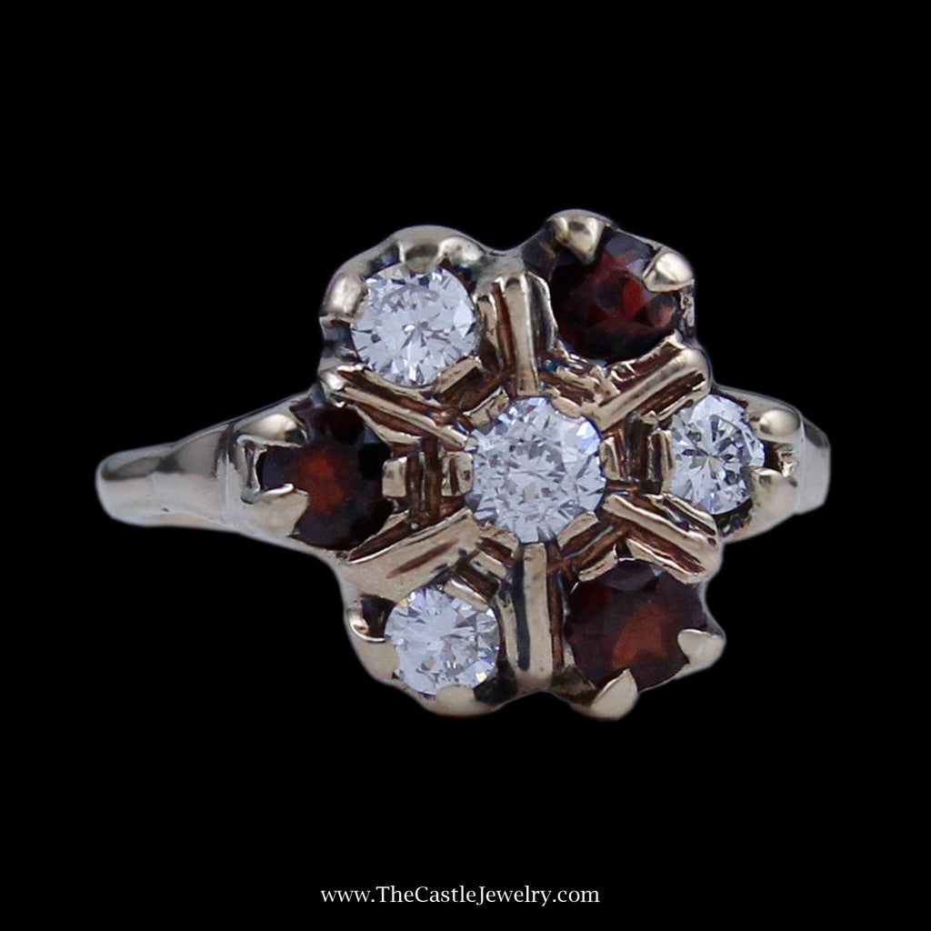Stunning Flower Design Diamond & Garnet Ring w/ Old European Cut Diamond Center in Yellow Gold - The Castle Jewelry  - 1