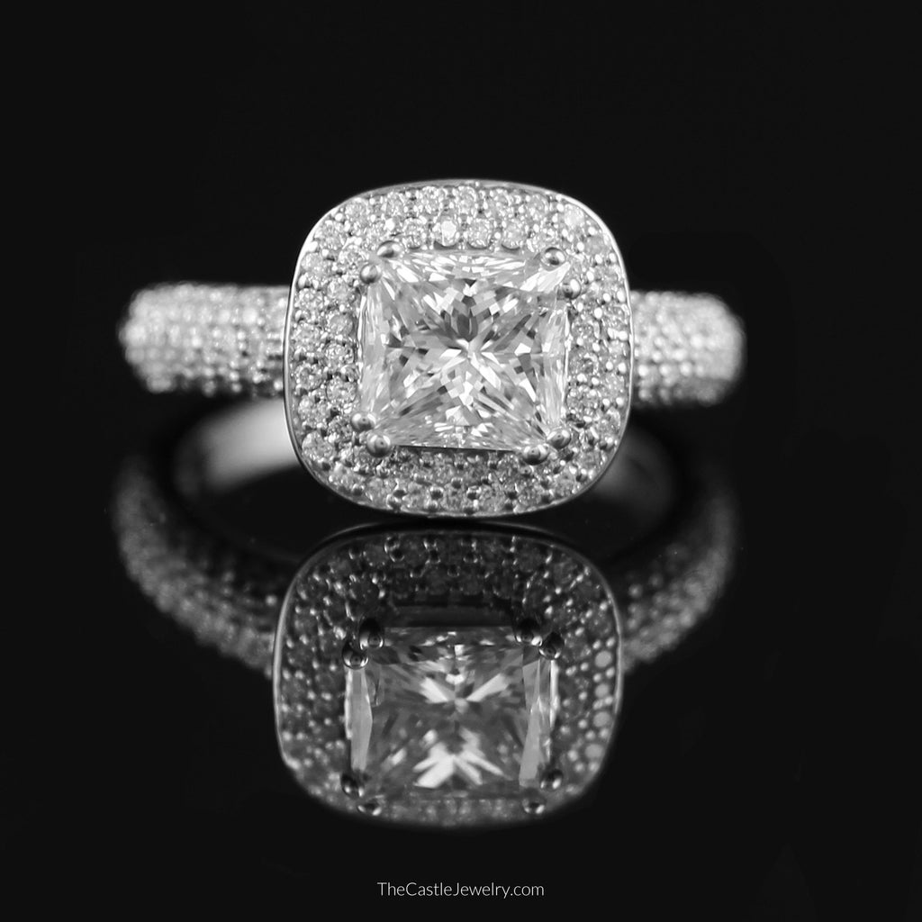 Princess Cut Diamond Engagement Ring with Round Pave Halo & Side Accents - The Castle Jewelry  - 1