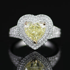 Stunning Natural Fancy Yellow Heart Shaped Diamond Engagement Ring w/ Double Halo - The Castle Jewelry  - 1