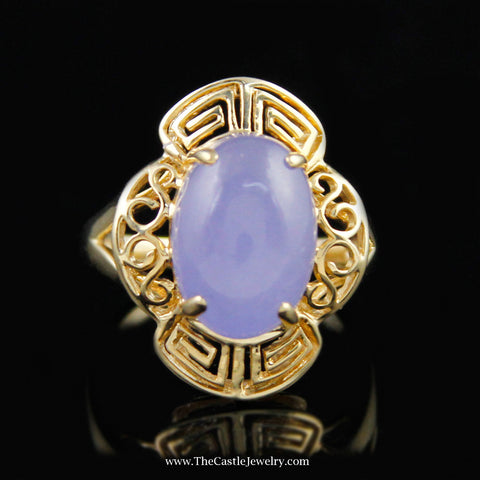 Beautiful Oval Cut Lavender Jade W/ Fancy Design Waved Bezel In 14K Yellow Gold