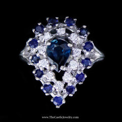 Pear Shaped Sapphire and Diamond Cocktail Ring in 14K White Gold - The Castle Jewelry  - 1