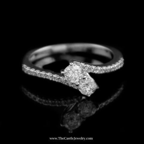 SPECIAL Beautiful .50Cttw My True Love & My Best Friend Diamond Ring In 14K White Gold