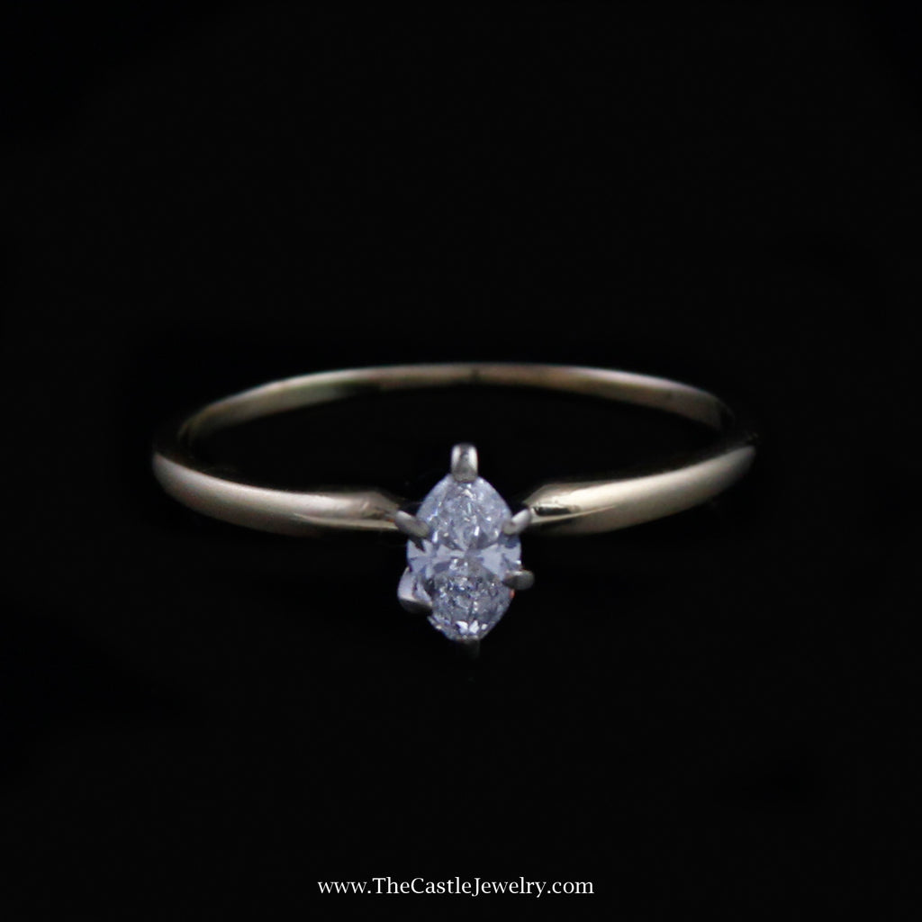 Beautiful Marquise Solitaire Diamond Engagement Ring in 14K Yellow Gold - The Castle Jewelry  - 1
