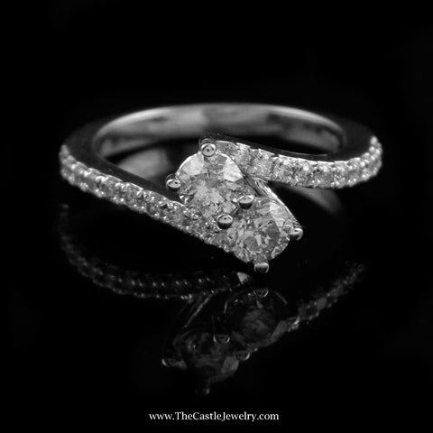 Beautiful 1Cttw My True Love & My Best Friend Diamond Ring in 14K White Gold