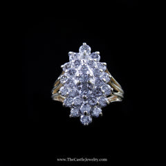 Gorgeous Diamond Marquise Shaped Cluster Ring in Yellow Gold - The Castle Jewelry  - 1
