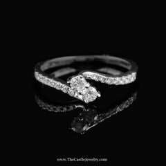 Beautiful .33Cttw My True Love & My Best Friend Diamond Ring In 14K White Gold - The Castle Jewelry  - 1