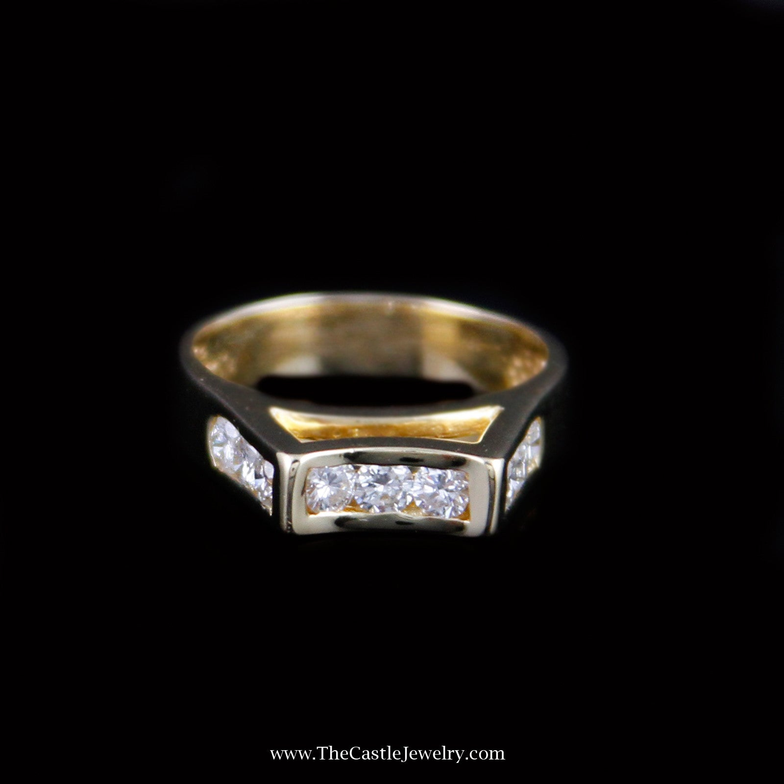 unique tall cathedral design 1cttw diamond ring in 18k yellow gold