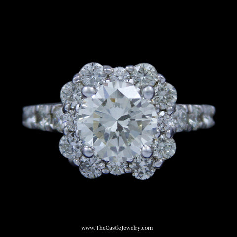 4cttw Round Brilliant Cut Diamond Engagement Ring w/ Unique Diamond Bezel & Sides