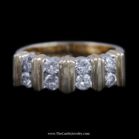 Beautiful vertical Channel Set Round Brilliant Cut Diamond Band w/ Bar Design Mounting in Yellow Gold