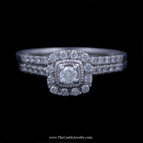 Crown Collection 1/3cttw Bridal Set w/ Round Diamonds & Cushion Shaped Halo 14K White Gold