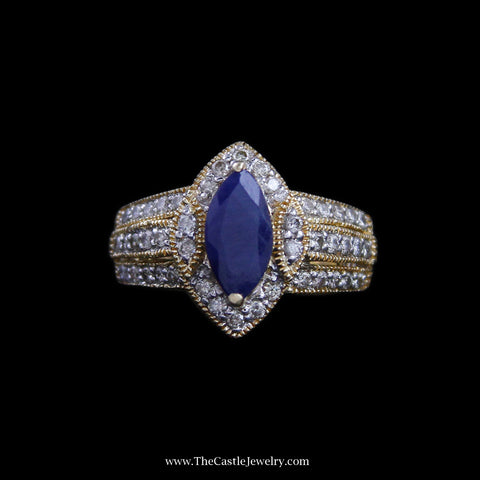 Beautiful Marquise Sapphire Ring w/ Diamond Bezel & Sides in 14k Yellow Gold
