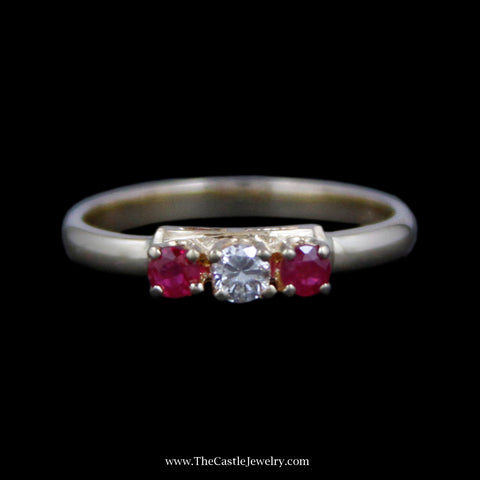 Charming Round Ruby & Diamond Band in 14k Yellow Gold