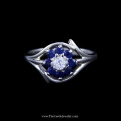 Beautiful Round Brilliant Cut Diamond Ring w/ Round Sapphire Halo in White Gold - The Castle Jewelry  - 1