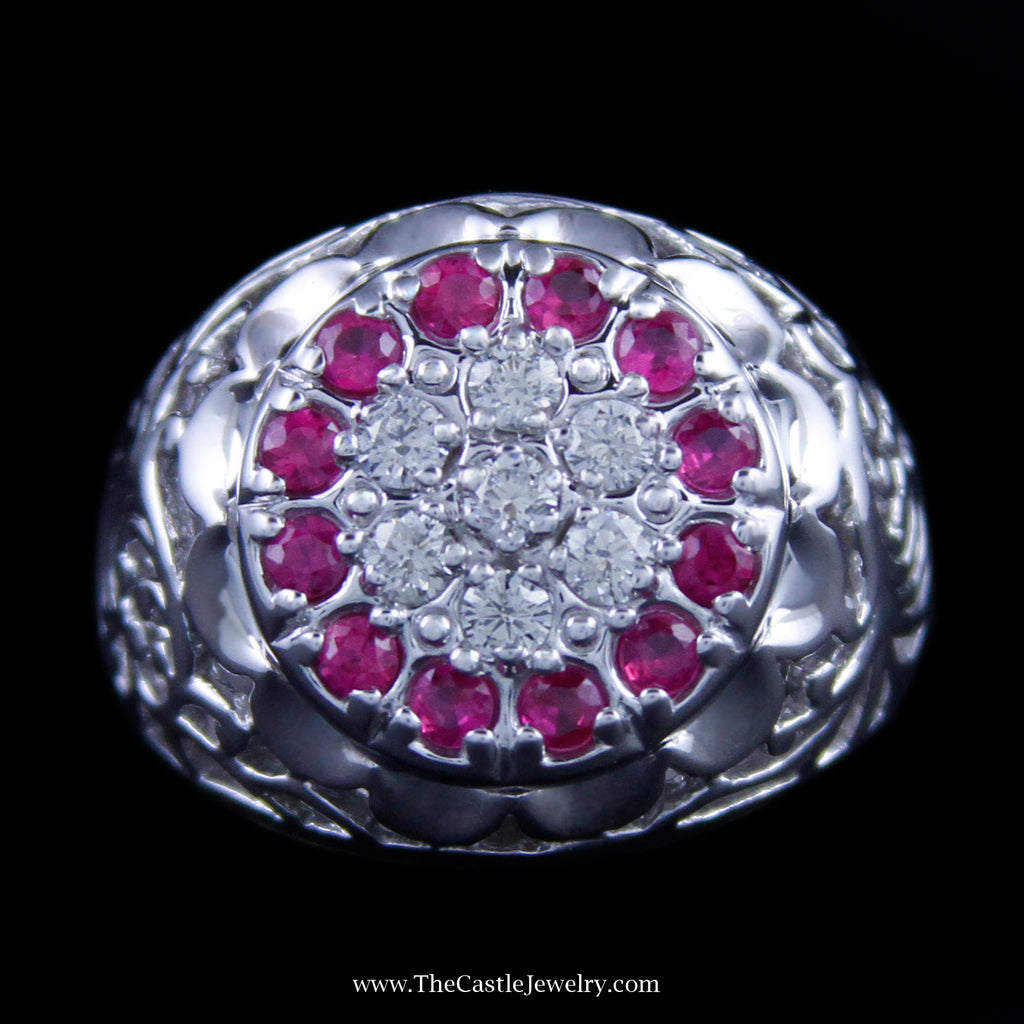 Ruby and Diamond Kentucky Cluster Ring w/ Filigree in 10K White Gold - The Castle Jewelry  - 1