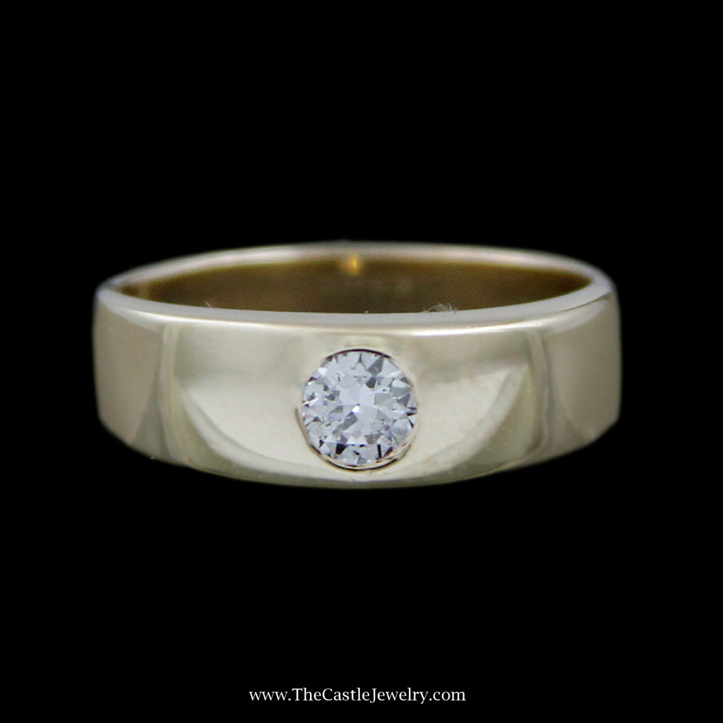 Unique Flat Bezel Set .25ct Round Brilliant Cut Diamond Solitaire Band in 14k Yellow Gold - The Castle Jewelry  - 1