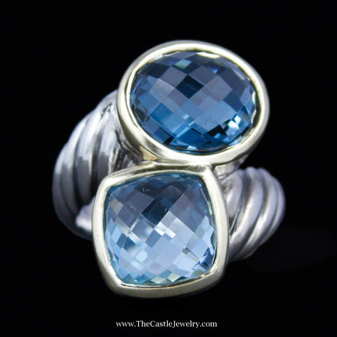 David Yurman Blue Topaz & Hampton Blue Topaz Bypass Cable Ring in Yellow Gold & Sterling Silver