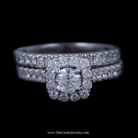 Crown Collection 1cttw Bridal Set .33ct Round Diamond Center w/ Diamond Halo/Sides/&Band