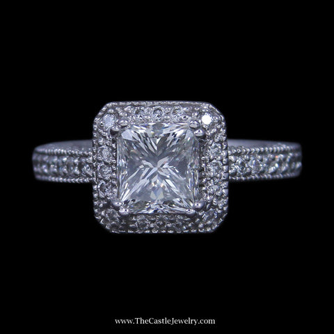 2.02ct Princess Diamond Engagement Ring w/ Round Brilliant Cut  Diamond Bezel & Sides in 14k WG