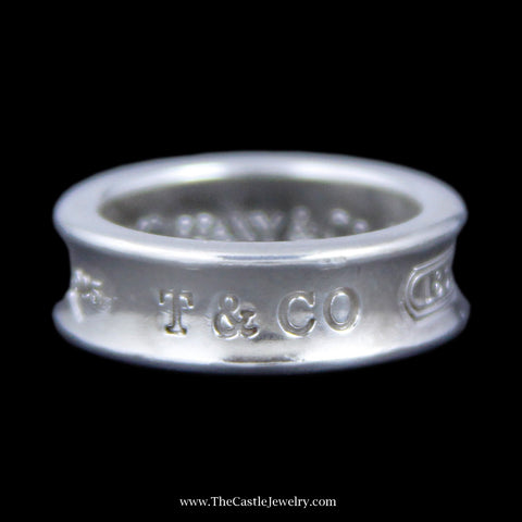 "Authentic Tiffany & Co. ""1837"" Ring w/ Concave Design Sides Crafted in Sterling Silver"