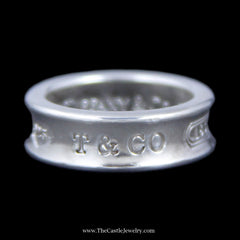 "Authentic Tiffany & Co. ""1837"" Ring w/ Concave Design Sides Crafted in Sterling Silver - The Castle Jewelry  - 1"