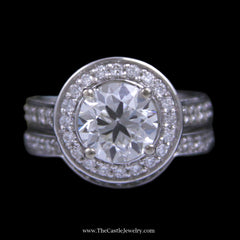 2.35ct Old European Cut Diamond Bridal Set w/ Diamond Halo & Fitted Band in 14k White Gold