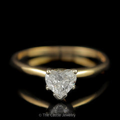 Heart Shaped Diamond Solitaire Engagement Ring .52ct in 14K Yellow Gold - The Castle Jewelry  - 1