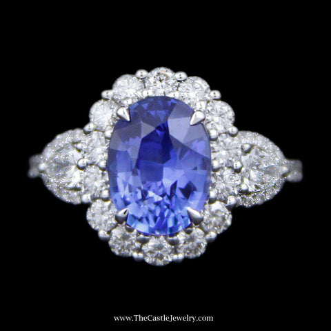 3.07ct Oval Sapphire Ring With Round Brilliant Cut Diamond Bezel and Pear Shape and RBC Diamond Sides in 18k White Gold