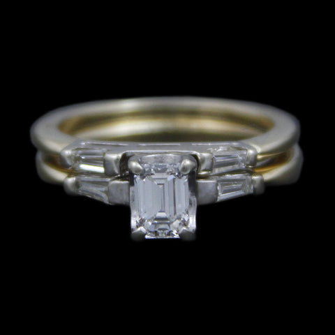 .50ct Emerald Cut Diamond Bridal Set w/ Tapered Baguette Sides & Matching Band in 14k Yellow Gold