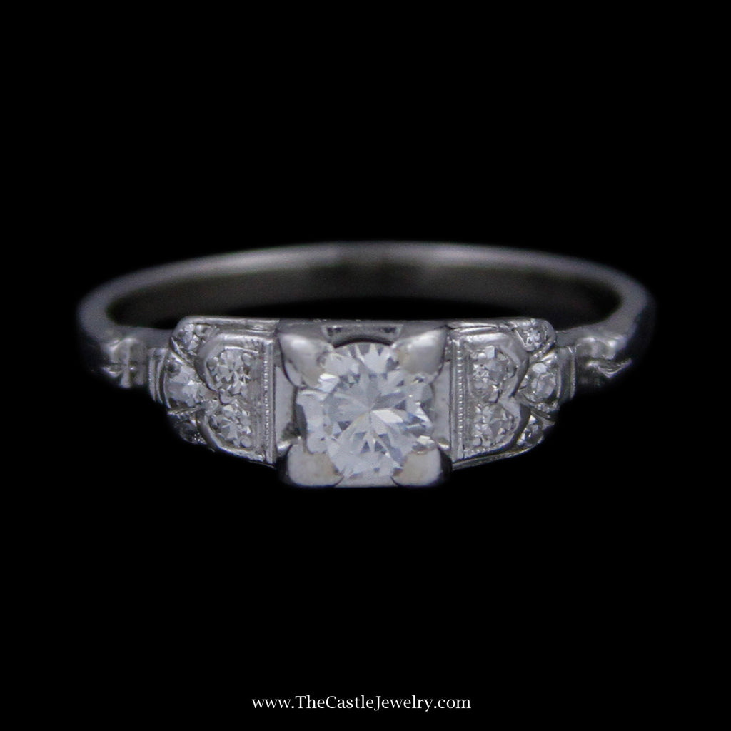 Antique Style Ring w/ Round Diamond Center in Squared Antique Mounting w/ Diamonds in 14k WG