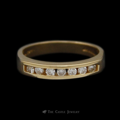 Channel Set Round Diamond 1/4cttw Wedding Band in 14K Yellow Gold