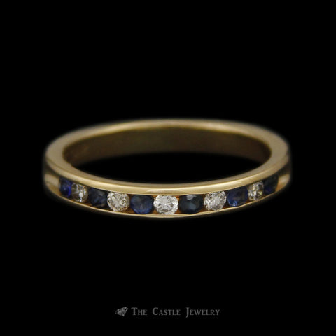 Channel Set Sapphire & Diamond Anniversary Wedding Band in 14K Yellow Gold