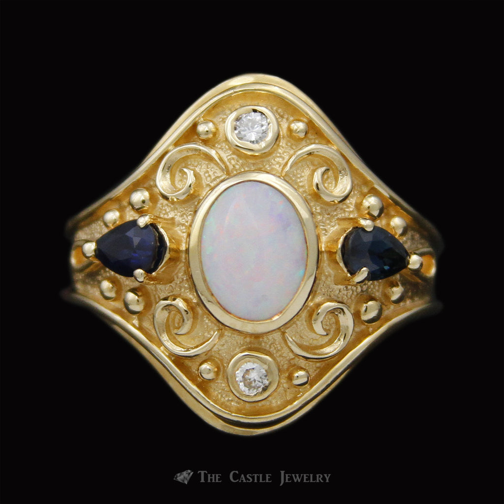 Antique Design Opal & Sapphire Ring w/ Scroll Accents in 14K Yellow Gold