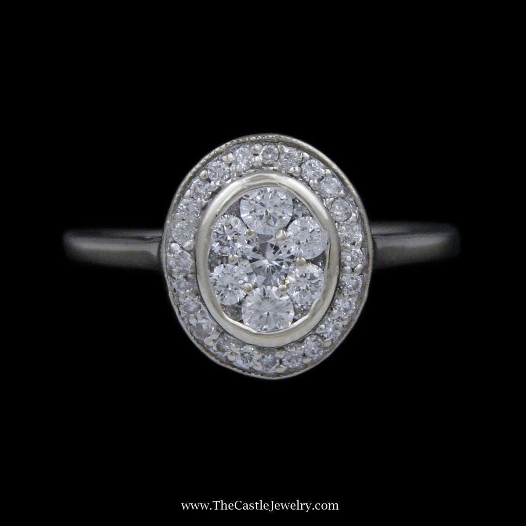 Oval .50cttw Round Diamond Cluster Ring in Polished Bezel & Prong Set Diamond Bezel in 14k WG