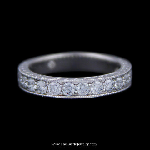 1.10cttw Leo Prong Set Diamond Wedding Band w/ Beaded Milgrain Mount Crafted in 14k White Gold
