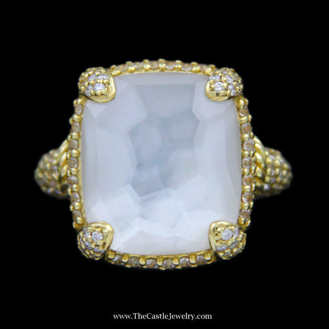 Judith Ripka Squared Mother of Pearl Ring w/ Diamond Bezel, Mounting & Sides in 18k Yellow Gold