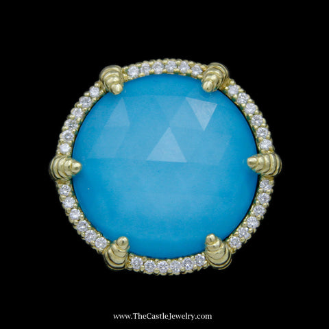 Judith Ripka Round Turquoise Rock Crystal Doublet Ring w/ Diamond Bezel & Prongs in Yellow Gold