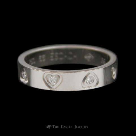 Designer Escada Flat Edge Heart Accent Eternity Band w/ Diamonds in 18K White Gold
