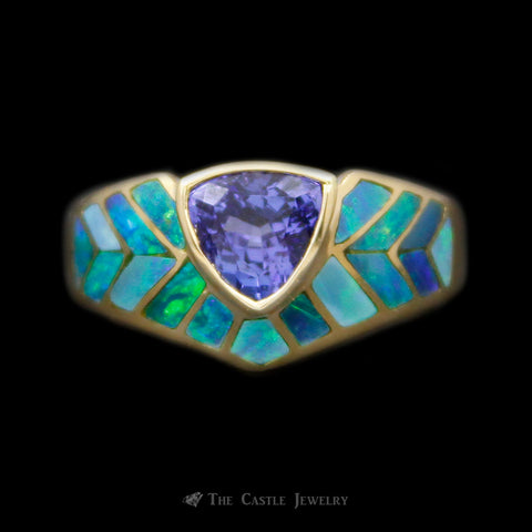 Bezel Set Trillion Cut Tanzanite Ring w/ Black Opal Inlay Sides Crafted in 14k Yellow Gold