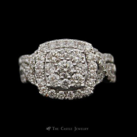 Rounded 2cttw Diamond Cluster Wedding Set w/ Diamond Halo & Infinity Sides 14K White Gold