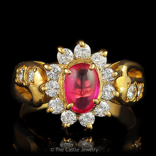 Synthetic Ruby .75 CTTW Diamond Bezel Side Accented 14K Yellow Gold Ring - The Castle Jewelry  - 1
