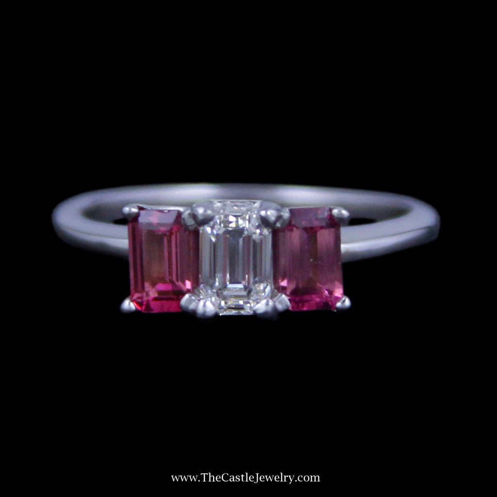 Stunning 3 Stone Ring w/ ½ Carat Emerald Cut Diamond (VS2/F) & Pink Tourmaline Sides 14K WG - The Castle Jewelry  - 1